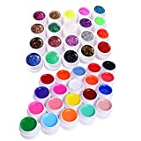 UV Gel Farbgel Set, Vanyda 40 Farben Nail Art UV Gel Set Gele Glitter Puder Nagel Design Nagel Kunst Spitzt