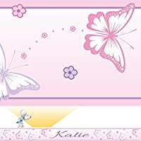 SuperDuperDecor CHASING BUTTERFLIES personalised bedroom wall border - MIXED