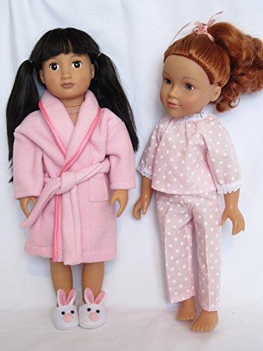 """Rosa lunares y encaje pijama y albornoz para Fit 18muñecas """"como DesignaFriend; Muñeca; Nuestra Generación; AMG; Carla y Cayla"""