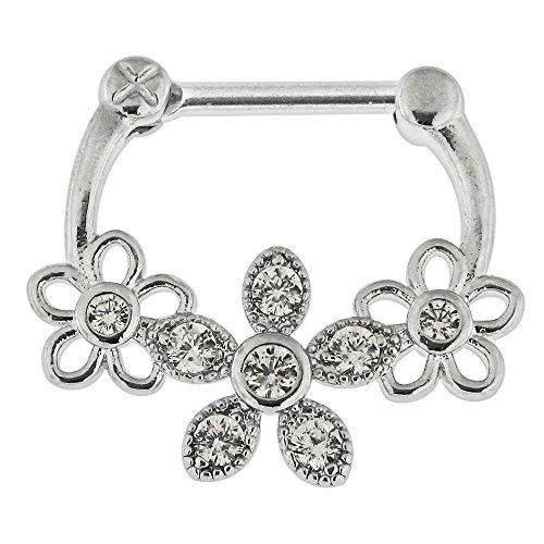 Dreifach Blume CZ Stein 316L Chirurgenstahl 14 Gauge Clicker Septum Nase Piercing Ring Schmuck