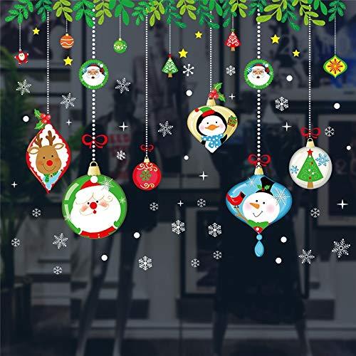 (EWQHD Cartoon Frohe Weihnachten Thema Wand Kunst-Aufkleber Für Büro Shop Startseite Fenster Dekoration Pvc-Plakat DIY Weihnachtsfest Wandaufkleber)