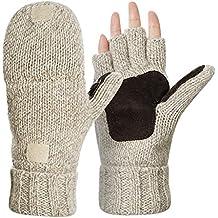 Kata Wool Blend Knitted Winter Warm Gloves Fingerless Mittens for Men Women