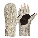 Kata Winter Warme Fingerlose Strickhandschuhe mit Fäustlinge Klappe(Beige)