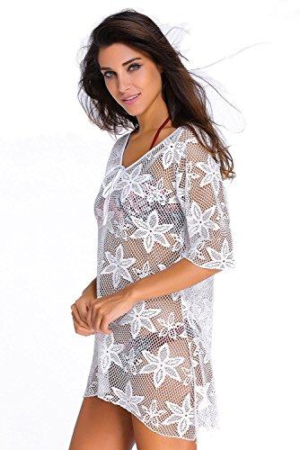 Yiyada Frauen Stickerei aushöhlen Swimwear Crochet Kaftan-Vertuschung Badeanzug Bademode Pareos Strandkleider Weiß