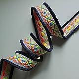 NEON Jacquard Woven Braid mit Double Edge Fransen, Fashion Schnitt, Meterware 4,5 cm navy