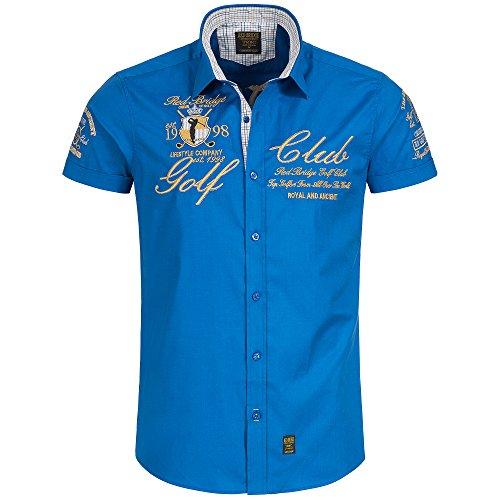 Redbridge by Cipo & Baxx Herren Hemd Freizeithemd Golf Club Regular Fit mit Stickerei (3XL, Saxe Blau) - Club-camp-shirt