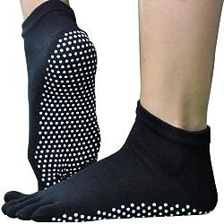 YOKIRIN–Calcetines de yoga antideslizante con agarre completo, algodón uso para hombres y las mujeres antideslizante de goma Super agarre calcetines, negro