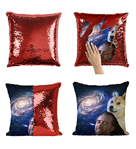 age Universe Dog Funny Kissen, Sequin Pillow, Mermaid Pillow, Reversible Pillow, Magic Pillow Kissen, Kissenbezug, Funny Pillow, Birthday Present, Meme (Cover Only) ()