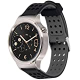 Greatfine 18mm Bracelets de Montres Band Strap de Remplacement Watchband Rechange Bande pour Huawei Watch / Huawei Fit / Withings Activite and 18 MM Watch (BlackGrey)