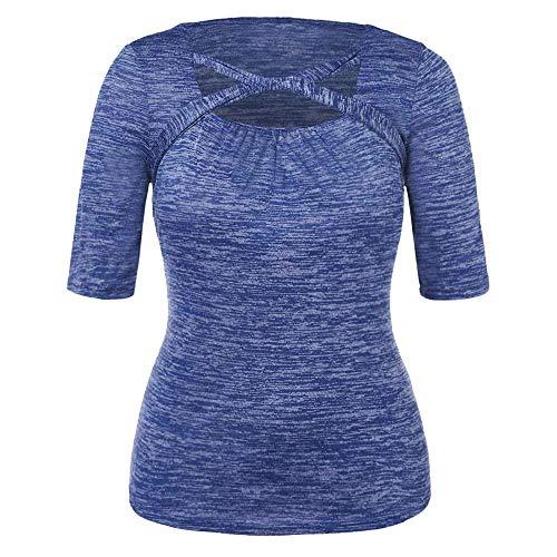 Quadrat Hals T-shirts Tops (LHWY Bluse Damen Elegant Art Und Weisefrauen BeiläUfiges Plus GrößEn-Quadrat-Hals-Verband-T-Shirt üBersteigt Bluse)