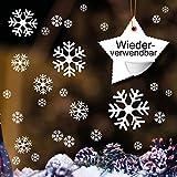 Wandtattoo-Loft 50 Schneeflocken weiß - Wiederverwendbare Fensteraufkleber