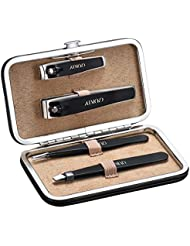 ATMOKO Nail Clippers for Men, 4 Pcs Nail Clippers Set Tweezers Set High Precision Tweezers and Fingernail Toenail Clippers Set with Leather Travel Case for Eyebrow Plucking and Nail Trimming