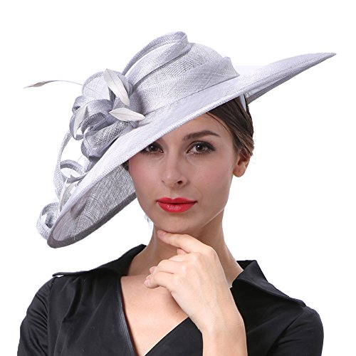 Koola's hats Damen Wide Brim Sinamay Hatinator Party Wear Hochzeit - Hüte Der Braut Mutter