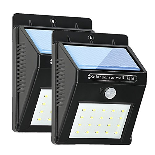 Lámpara Solar,2 Paquetes,Foco Solar 20 LED,Luces Solar de Pared 1200mAh IP 65 Impermeable,Luz de Solar-de Paddy Direct