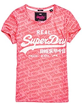 Superdry Vtgelogoaopbrnoutentrytee, T-Shirt Donna
