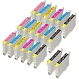 20 Epson Compatible Ink Cartridges for Epson Stylus Photo Printers, 5x T0801, 3x T0802, 3x T0803, 3x T0804, 3x T0805, 3x T0806