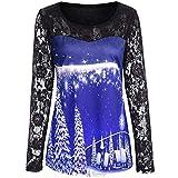 Xmiral Damen Weihnachten Hemd Bluse Lässige Spitze Patchwork Print Langarmshirts (XL,Blau)