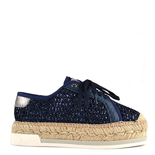 Kanna Chaussures Dallas Bleu Espadrilles a Lacets Femme Bleu