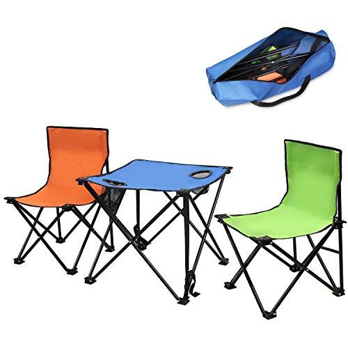 Moko tragbar klappbar Freizeit Tische und Stühle Set campingstuhl und tisch, 2 Klappstühle klappbar + Campingtisch Klapptisch 19 x 19 x 17 cm , für Barbecue ,Angeln, Camping, Reisen, Strand
