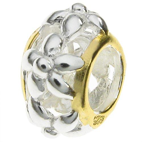 925Sterling Silber goldfarbene Flower Bead für europäische Charm-Armbänder
