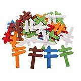 Sharplace 50 Stücke Mischfarbe Mini Holzpfeile Hinweisschild Holzdeko Holz Stück für Puppenhaus Möbel