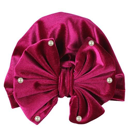 s Perlenstickerei Samt MüTze Kopftuch Girl Knotted Hate Boy Warm Bow Beanie Baby Headwear Cap(Heiß Rosa,35cm) ()