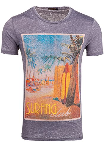 GLO STORY Herren T-shirt Figurbetont Kurzarm NEW! 7647 Grau