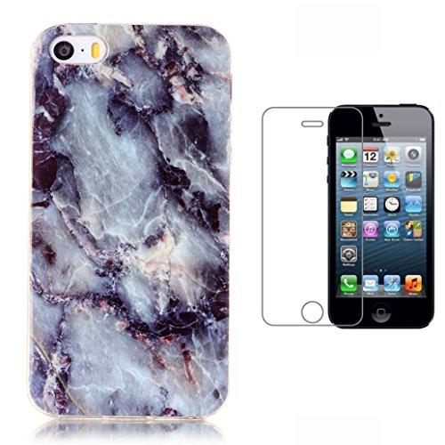 Custodia iPhone SE/5/5S [Pellicola Protettiva in Vetro Temperato], Yoowei® Classical Fashion Marble Texture Trasparente Ultra (Banana Pelle)