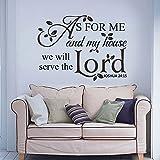 Religiöse Vinyl Wandtattoo Wörter Was mich und mein Haus wir wollen dem Herrn Dekor Bibel-Schrift-Abziehbild-Kunst zu dienen (custom, X Large)