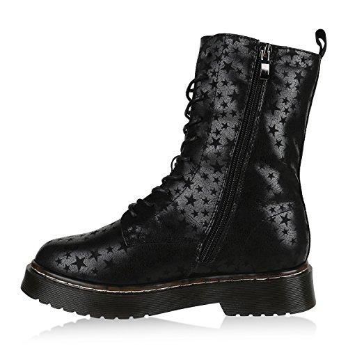 Stiefelparadies Damen Worker Boots Stiefeletten Booties Lack Knöchelhohe Stiefel Boots Schuhe Profilsohle Flandell Schwarz Prints
