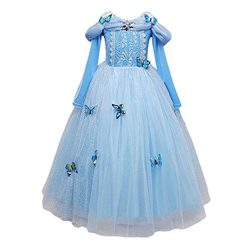 Dettagli su Cenerentola vestito costumi carnevale bambina bimba principessa azzurro abito 870