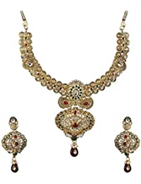 DeAaaStyle Gold Plated Necklace Set For Women/Girls With Earring For Traditional Wedding With Maroon Pearl