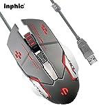 Mouse Da Gioco Silenzioso Silent Click, Inphic Mouse Da Gioco Ottici Cablati USB Con LED Ottico, 4 Livelli Di Regolazione DPI, 6 Pulsanti Per Laptop, Pc, Mac (Grigio metallo)