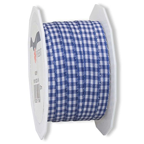 Wertpack 1x Geschenkband, Stoffband, Vichy-Karo, Blau, gewebte Kante, 10 mm x 20 m (Blau-karo-band)