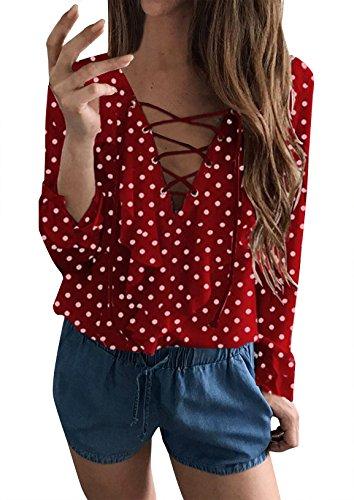 Yidarton Damen Chiffon Bluse Lace Up V-Ausschnitt Rüschen Langarm Oberteile Tops (Rot, X-Large)