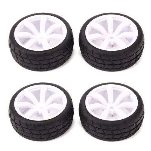 DN RC 1:10 Classe Sport Car Racing Wheel Rim & Pneumatici Bianco Mozzo ruota (confezione da 4)
