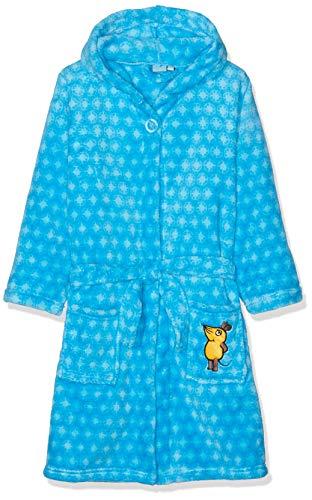 Playshoes Kinder Fleece-Bademantel mit Kapuze, flauschiger Morgenmantel für Jungen, die Maus-, Sternen-Stickung allover - Blaue Fleece Bademantel