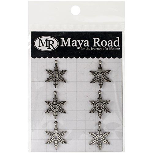Maya Road Glocken Schneeflocken Vintage Metall Charms (6Pack), 1,8cm by 2,5cm Silber