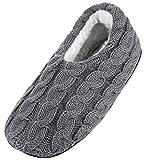 Y-BOA Chausson Slipper Fourrure Pantoufle Chaussette Chambre Chaude Velours Unisexe Maison Gris Semelle 25cm
