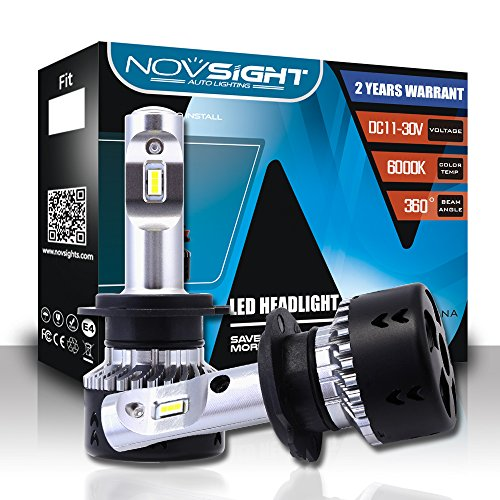 NOVSIGHT H7 70W 10000LM LED lampadine del faro Kit Bulbi Auto Luci 6000K Bianco Lampade Lampadine, 2 ANNI DI GARANZIA
