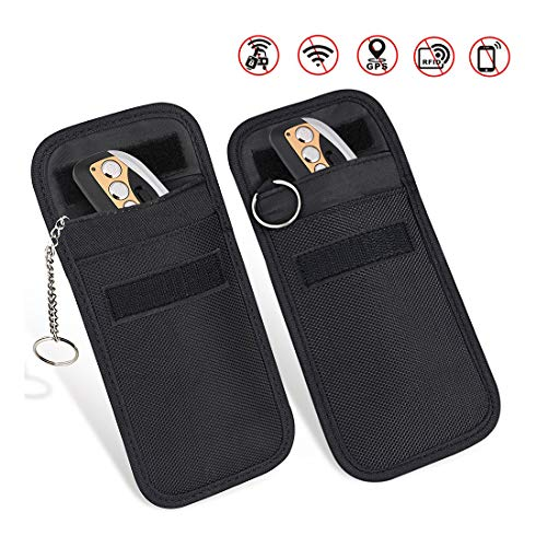 Car Key Signal Blocker Case, Enterin 2 X Keyless Entry Fob Guard Signal Blocking Pouch, Anti Theft Lock Device, Remotes Control Protector Bag Blocks RFID/WIFI/GSM/LTE/NFC
