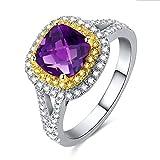 KnSam Ring 925 Silber Damen Trauringe Echt Amethyst Antragsring Hochzeit Geschenk für Frauen Mutter Gr.65 (20.7) Modeschmuck