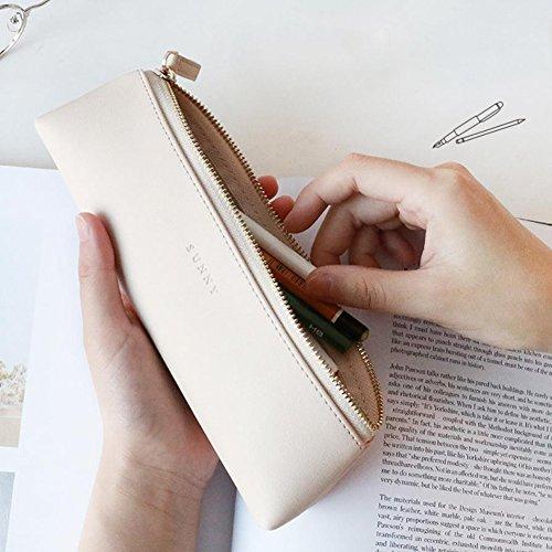 Fyore lusso astuccio in pelle piccolo per sacchetta cerniera in metallo portapenne pennelli make up (beige)
