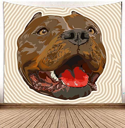 WXYTT Wandteppich, 150x200cm Bully Dog Hippie Wandbehang mit Art Boho Home Dekorationen für Wohnzimmer Schlafzimmer Wohnheim Dekor Meditation Yoga Matte Teppiche Geschenk