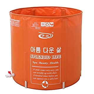 MBJZ The folding shower and bath bucket bath tub adult thick bath bath barrel, orange,70*70cm