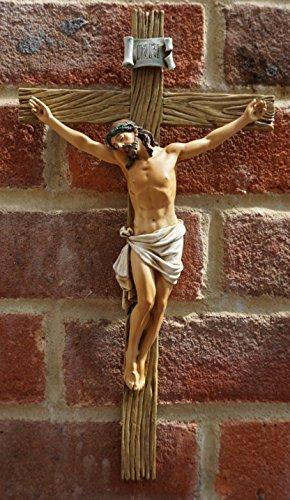 32cm Kunstharz bemalte Wand Kruzifix