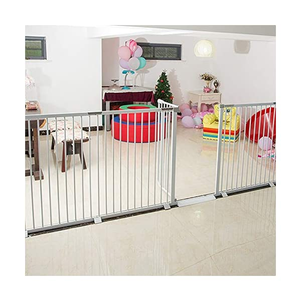 Auto Close White Stair Gate, Safety Gate Room Divider for Dog Pet Baby (Color : High 103cm, Size : 96-103cm) Huo WALL PROTECTION: Safety Gates For Kids or Pets With an extension from 61-215cm, this gate will fit in most doorways quickly and easily EASY TO INSTALL: the safety gate is fixed with four fixing screws by pressure, that means neither drilling or screws are necessary; DURABLE AND CONVENIENT: Tall Thru Gate Made with sturdy metal construction for the ultimate in durability, the play yard is easy to set up and take down. 6