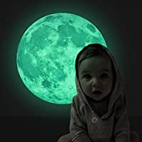 EXTSUD Full Moon Wall Sticker, Fantastic Christmas 3D Luminous Moon Mural Wall Stickers Deer or Snowman for Kids Rooms, Ideal Gift for Holidays Birthday Party Festival Sticker