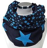 PiriModa XXL Damen Sterne Schal Leichter Schlauchschal Viele Farben (Dunkelblau/Türkis)