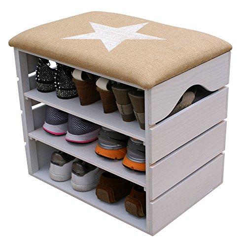 LIZA LINE SCHUHSCHRANK AUS HOLZ, SCHUHBANK, SCHUHREGAL (WEIß), mit Gepolstertem Sitz und textilbeschichtet. Lagern und ordnen Sie Fußbekleidung: Schuhe, Stiefel, Sneakers. Nordische Massivholz - 51 x 45 x 36 cm (Weiß Stern) (Kolonial Schuhe)